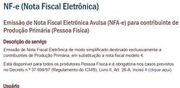 NFe - Nota Fiscal Produtor Rural