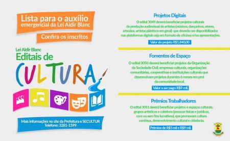 Confira inscritos nos projetos culturais da Lei Aldir Blanc em Caçapava do Sul