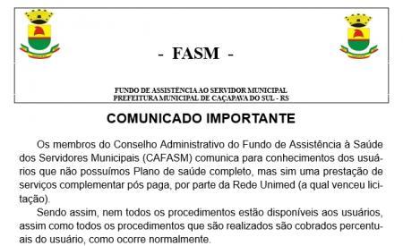 Comunicado FASM