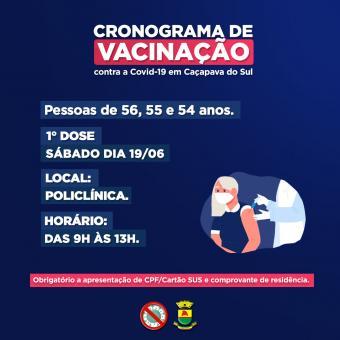 Caçapava do Sul continuará a vacinação de pessoas com 56, 55 e 54 anos sem comorbidades no sábado