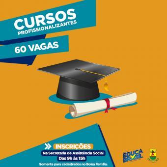 Prefeitura de Caçapava do Sul e Educa Brasil estão oferecendo 60 vagas para Cursos