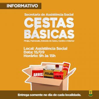 Secretaria de Assistência Social entregará cestas básicas às famílias em vulnerabilidade